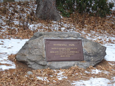 Hunnewell Park marker near Town Hall in Wellesley