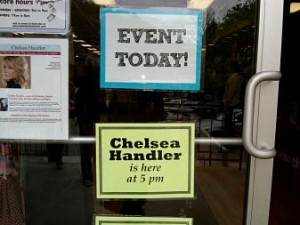 Chelsea Handler sign Wellesley Books