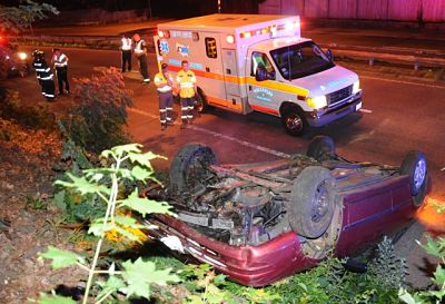 July 21 rollover Wellesley MA rte 9