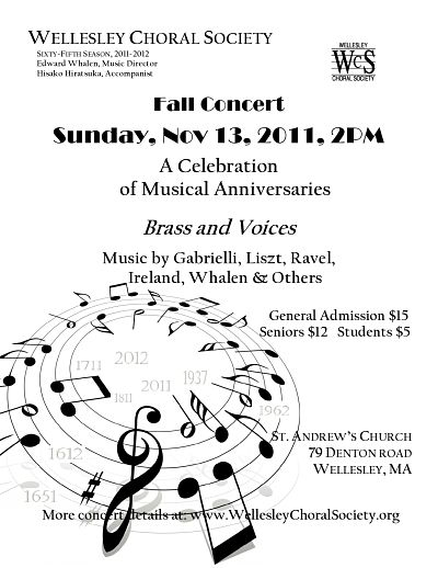 Wellesley Choral Society concert fall 2011