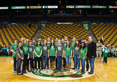 Wellesley High singers at Boston Celtics, Jan. 13 2012