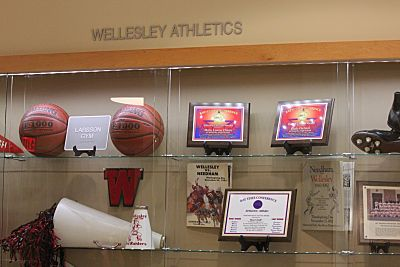 new Wellesley High sports trophy case