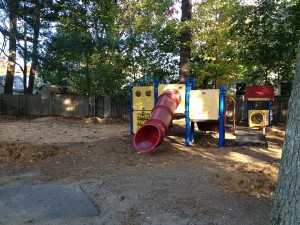 Perrin Park, minus metal slide and tire swing, Wellesley