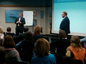 Superintendent David Lussier (left) and Tech Director Rob Ford, meet with parents at Wellesley Free Library in January.