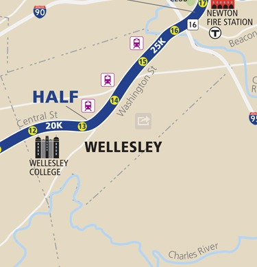 Boston Marathon course, Wellesley section
