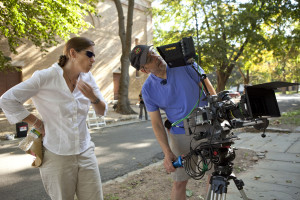 Director Mary Mazzio and fellow Wellesleyite, director of photography Richard Klug. Photo by Richard Schultz