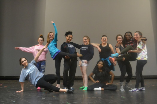 Footnotes Group at Practice on stage: (L to R) Neda Shabestari, Lexie Todorov, Hannah Starr, Daharah Pritchard, Carolina Pedrazas, Jayla Glover, Kassandra Rodriguez, Alana Rosenbloom, Elizabeth Serunjogi, Emma Himmelberger