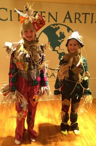 Megan Worrall (left, The Wiz) and Nicole Baldwin (The Wizard of Oz) try on their Scarecrow costumes.