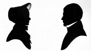 Silhouette of Mary and Thomas Pratt. Thomas (1699-1780) fought in the French and Indian Wars and was in the battles of Lexington and Bunker Hill during the Revolution.