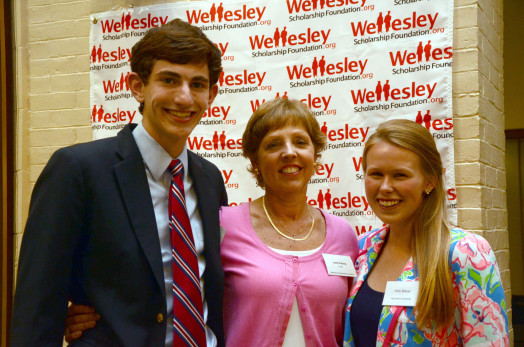 At WSF Annual Awards Ceremony, the 2014 Merit Award Recipients Benjamin Griswold and Hannah Breuer are congratulated by WSF Scholarship Chair Leslie Petzing (center).  Photo by George Roberts