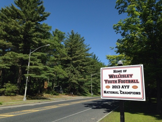 Wellesley Youth Football sign on Natick/Wellesley line on Rte. 135