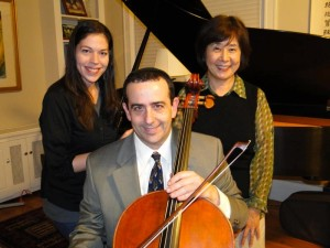 Trio Viscaria. On the left, Monica Pegis, violin; center, David Fisher, cello; on the right, Hisako Hiratsuka, piano.
