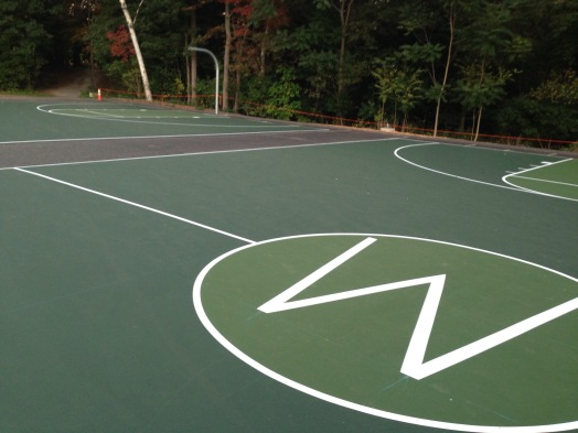 Outdoor basketball courts at Wellesley High
