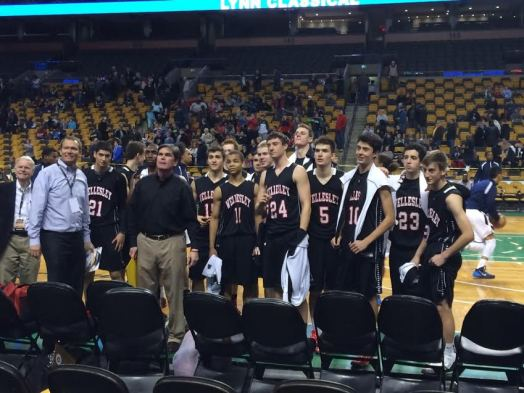 Wellesley High boys' basketball team at TD Garden last year (Coach Magpiong in dark shirt toward front left)