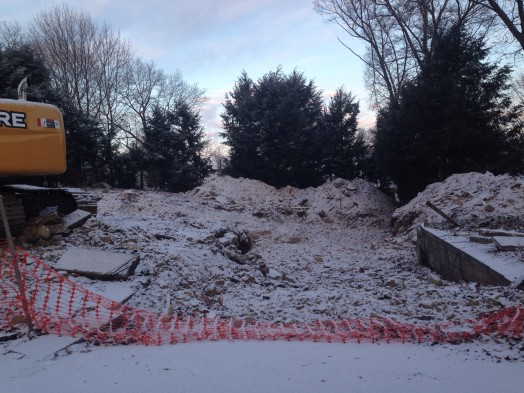 house teardown in generals street area near morses pond, maybe hodges, winter 2015