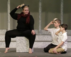 """(L to R) Cassandra Milne, Jackson O'Toole and Ben Pierce rehearse the number """"Be Italian!"""""""