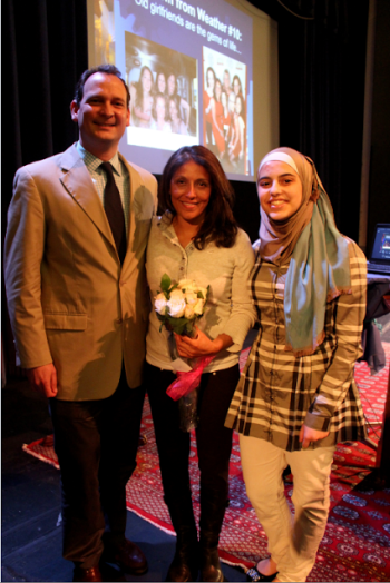 Speaker Mish Michaels  (center) joined Dana Hall Assistant Head of School Rob Mather and Dana Hall student Raya Husami, who introduced Michaels.