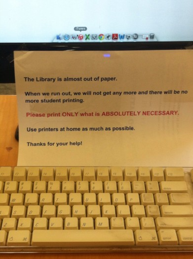 welllesley library message on paper