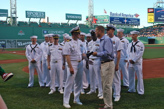 Sam Kennedy presented New Hampshire flag by Navy personnel during Red Sox game in 2011 wellesley