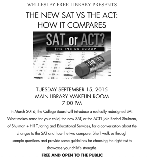 sat act wellesley free library