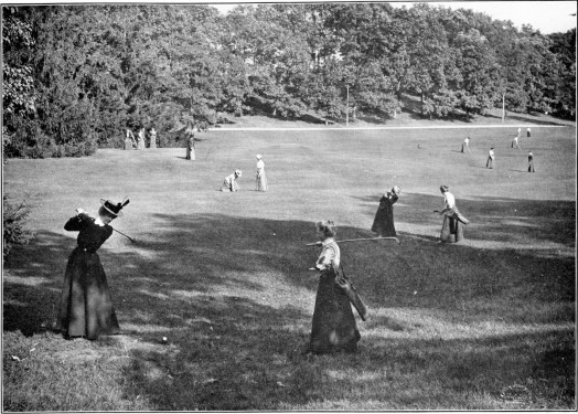 The first course at Wellesley College was on the main campus and the holes ran between the buildings. It shut down when building projects eliminated some holes (photo via Wellesley Historical Society)