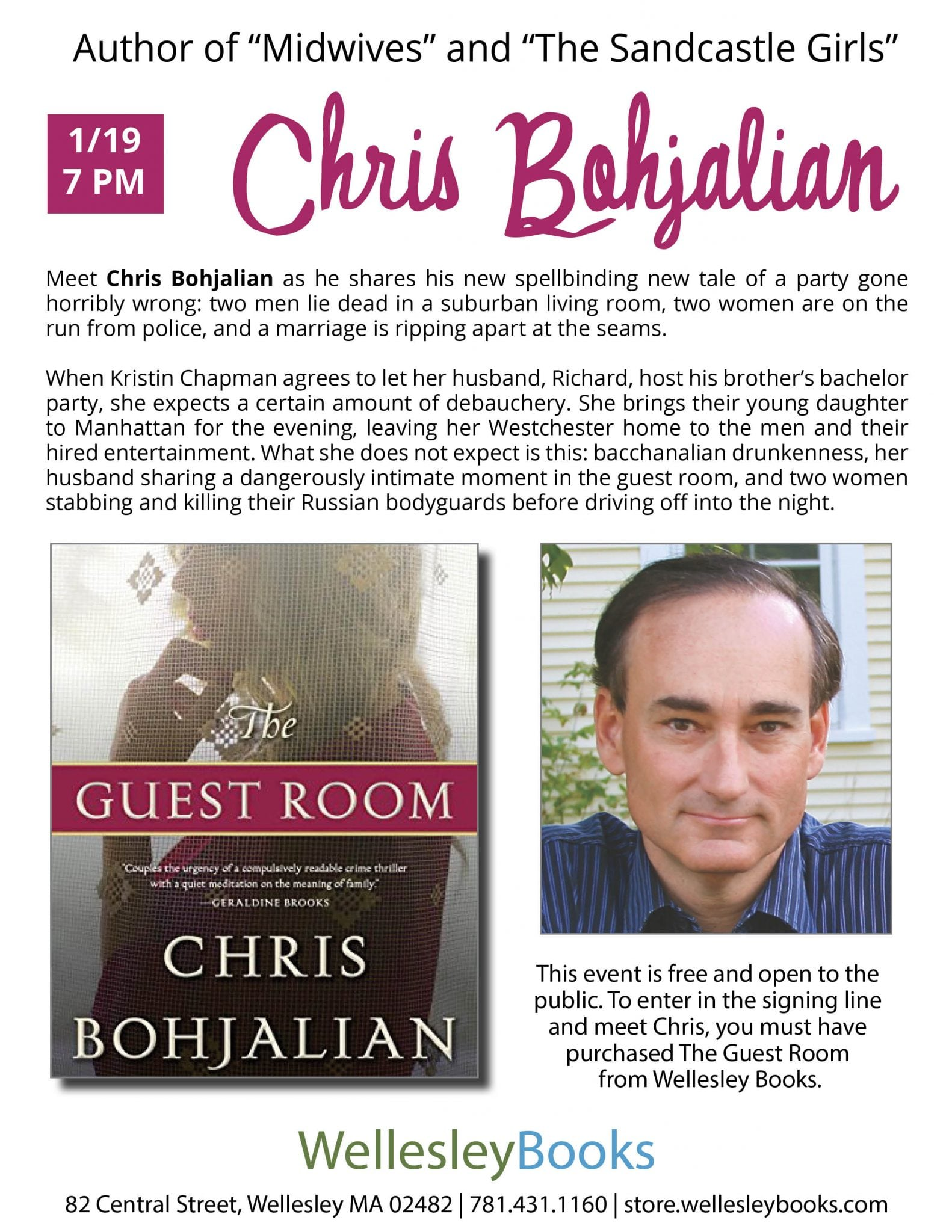 Bohjalian flyer, Wellesley Books