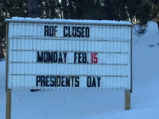 Wellesley dump closed, Presidents's Day