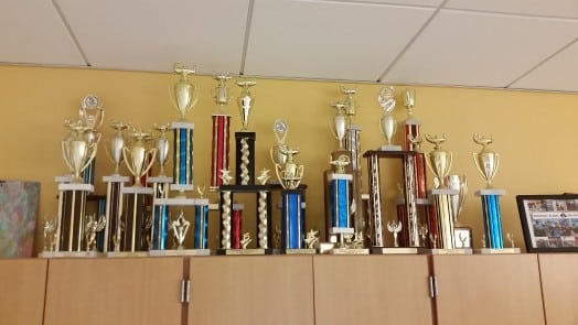 MassDecathlon trophies at Wellesley High