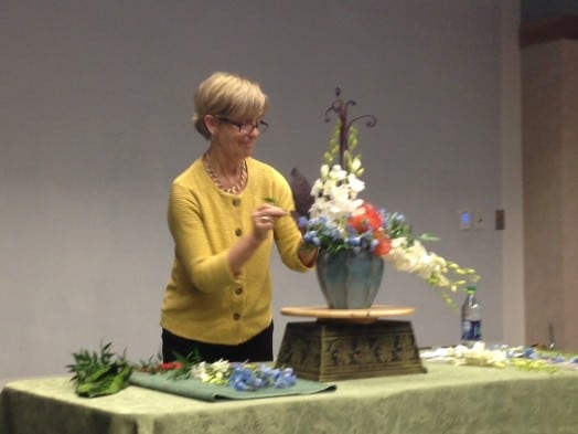 Museum of Fine Arts associate Carolyn Ellis showed us how to throw down a flower arrangement inspired by Hasui's art.