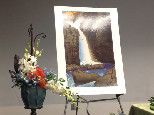 "Side-by-side masterpieces. Museum of Fine Arts associate Carolyn Ellis casually put together this show-stopping arrangement inspired by this Yuki Hasui print -- she didn't have the original on hand for whatever reason. Something about it ""hanging in the museum."""