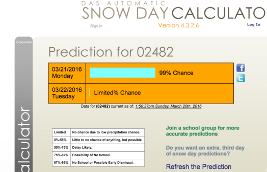 snow day calc wellesley