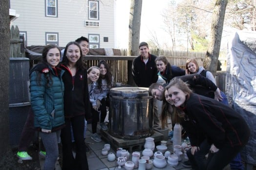 Clay Students at the raku firing.