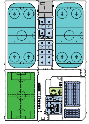Inside view of skating rinks, field, pools/fitness center