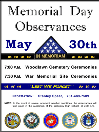 Wellesley Memorial Day observances