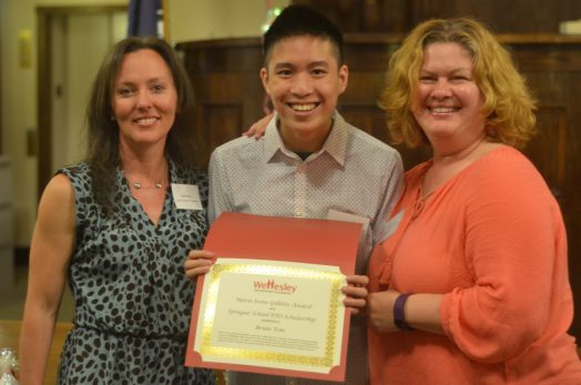 Sprague School PTO Awards First Scholarship at Wellesley Scholarship Foundation Awards Ceremony to Brian Tom (Left to Right) Elaine Marten, Sprague School PTO President, Brian Tom, and Jill Fischmann, Sprague School PTO Vice President Photo Credit: George Roberts