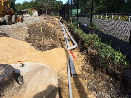 The contractor installed several more feet of electric and data conduits along the east end of the field. These conduits will help provide service to the concession stand, ticket booths, donor wall, speakers, score board and walkway lighting.