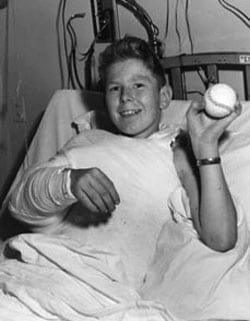 Everett Knowles, recovering from limb-reattachment surgery at Mass General, 1962. Photo credit: The Somerville Times.