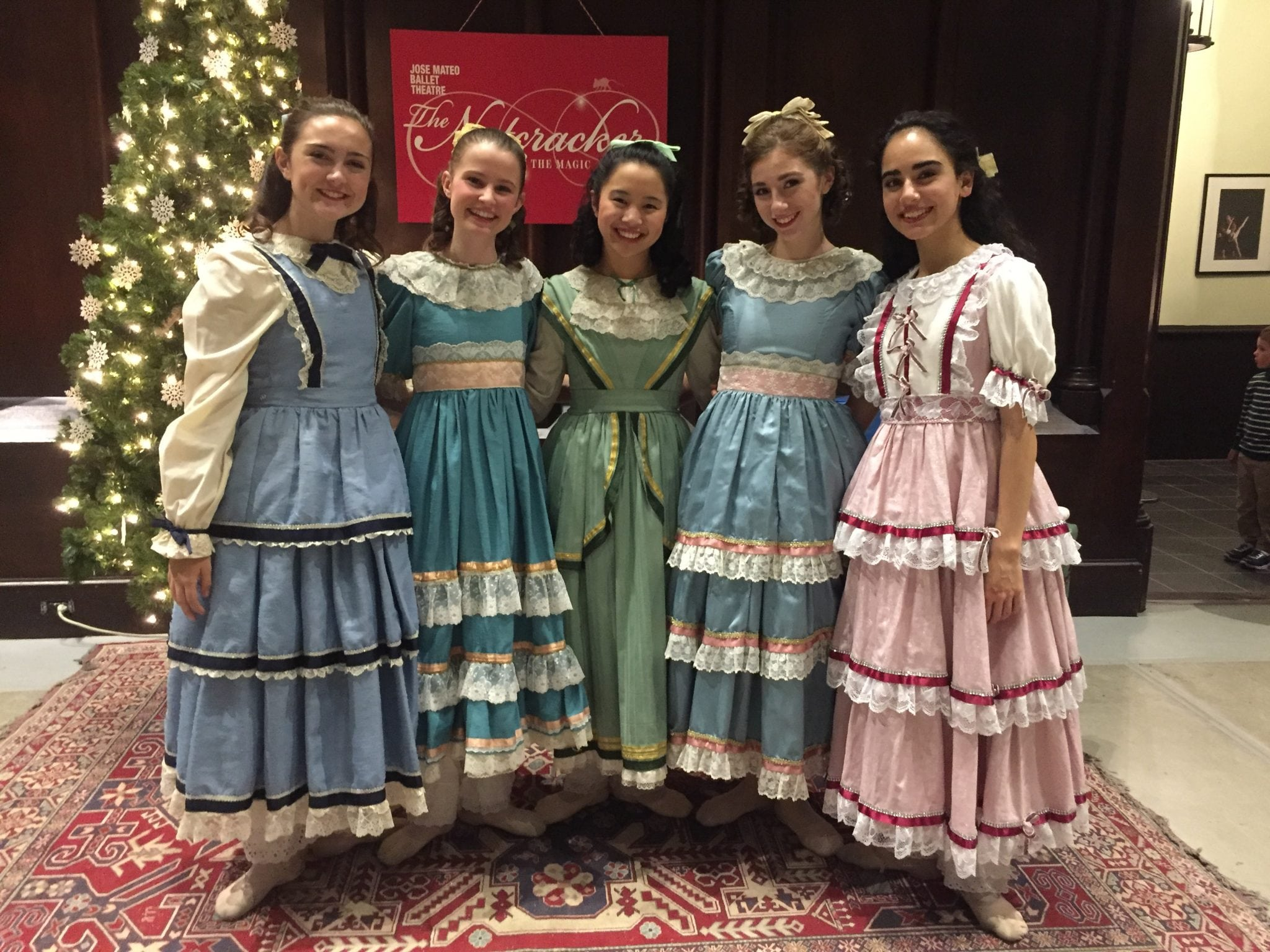 The Claras: from left to right: Olivia Hynes, 15, of Saugus; Ashley Watts, 17, of Wellesley; Amy Chan, 16, of Cambridge; Cecilia Zevallos, 17, of Somerville; and Samin Charepoo, 17, of Quincy . Ashley will dance as Clara November 26 and December 3 at 7; December 10 and 17 at 2pm.