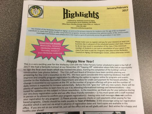 Highlights newsletter from Wellesley Council on Aging