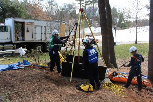 Norfolk County Technical Rescue Team Drill at Wellesley College