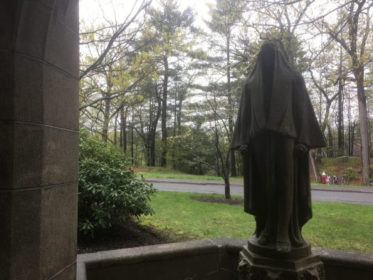 two-face woman statue, Tower Court Wellesley College