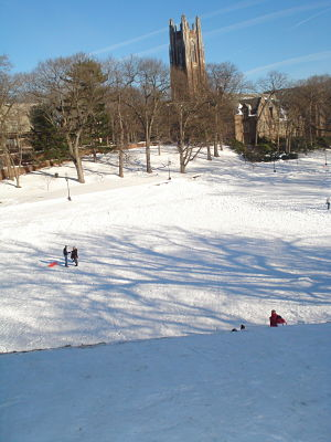 Wellesley College Severance Hill sledding
