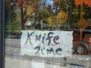 knife sign, Wellesley MA
