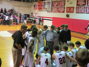 Wellesley High boys hoop huddle