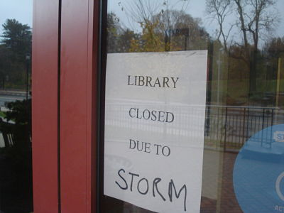 Wellesley Library, morning of Hurricane Sandy