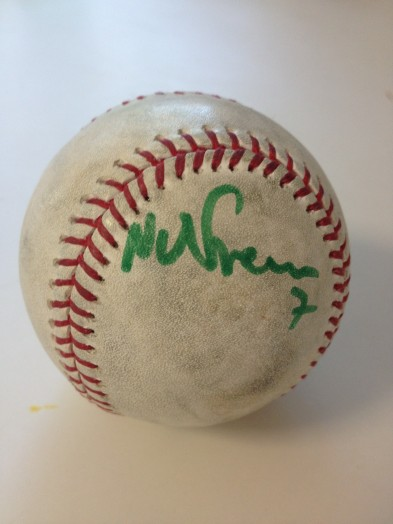 Nate Freiman, autographed ball, April 2013