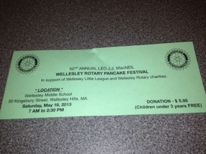 Wellesley Little League pancake festival