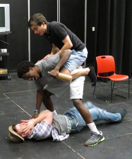 "L-R, Brian Kelly Angel Blaise and Weston Jacoby rehearse for"" Twelfth Night""."