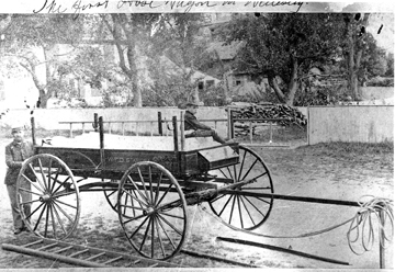 Wellesley's earliest fire wagon, c. 1881 (via Wellesley Historical Society)