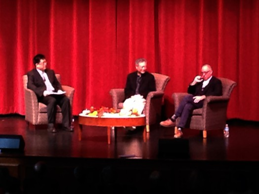 Wellesley College assistant prof Mingwei Song, Director Ang Lee, screenwriter James Shamus at Wellesley College